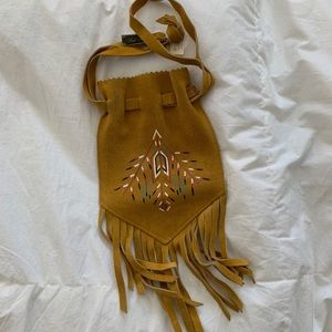 Indien Art Eskimo hand painted suede pouch